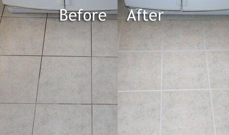 Inexpensive Changes to home tile grout before after