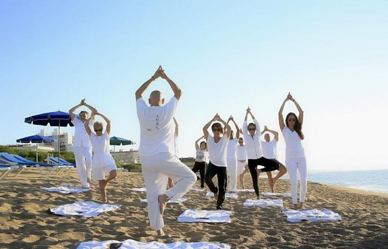 yoga on the brevard county beach