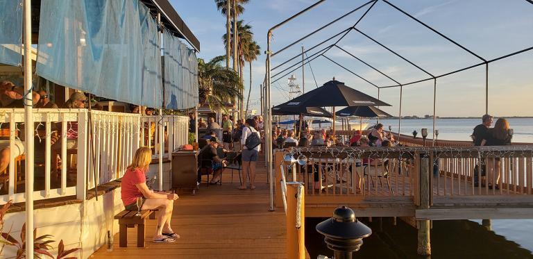 Enjoy outdoor dining on the river